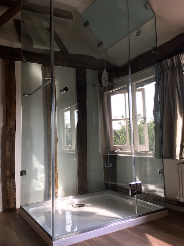 glass cube shower wood beams