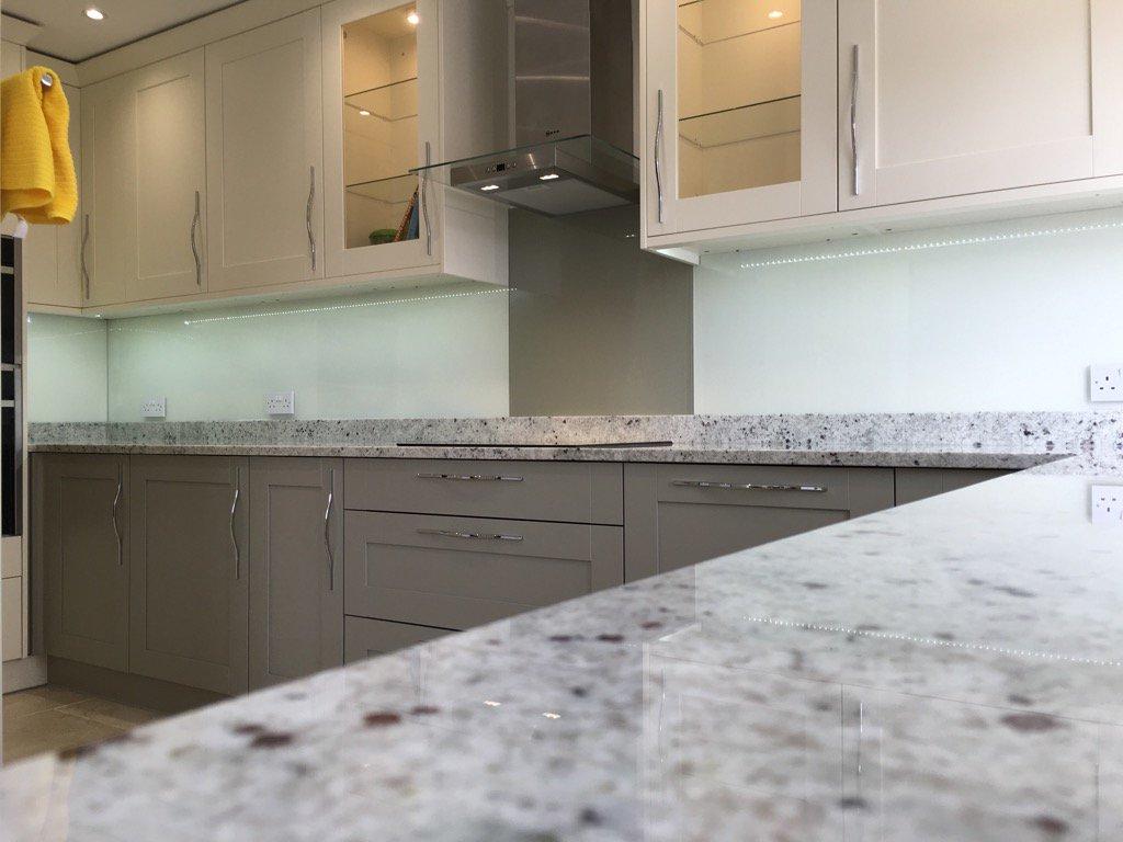 Beech Worktop Glass Splashback