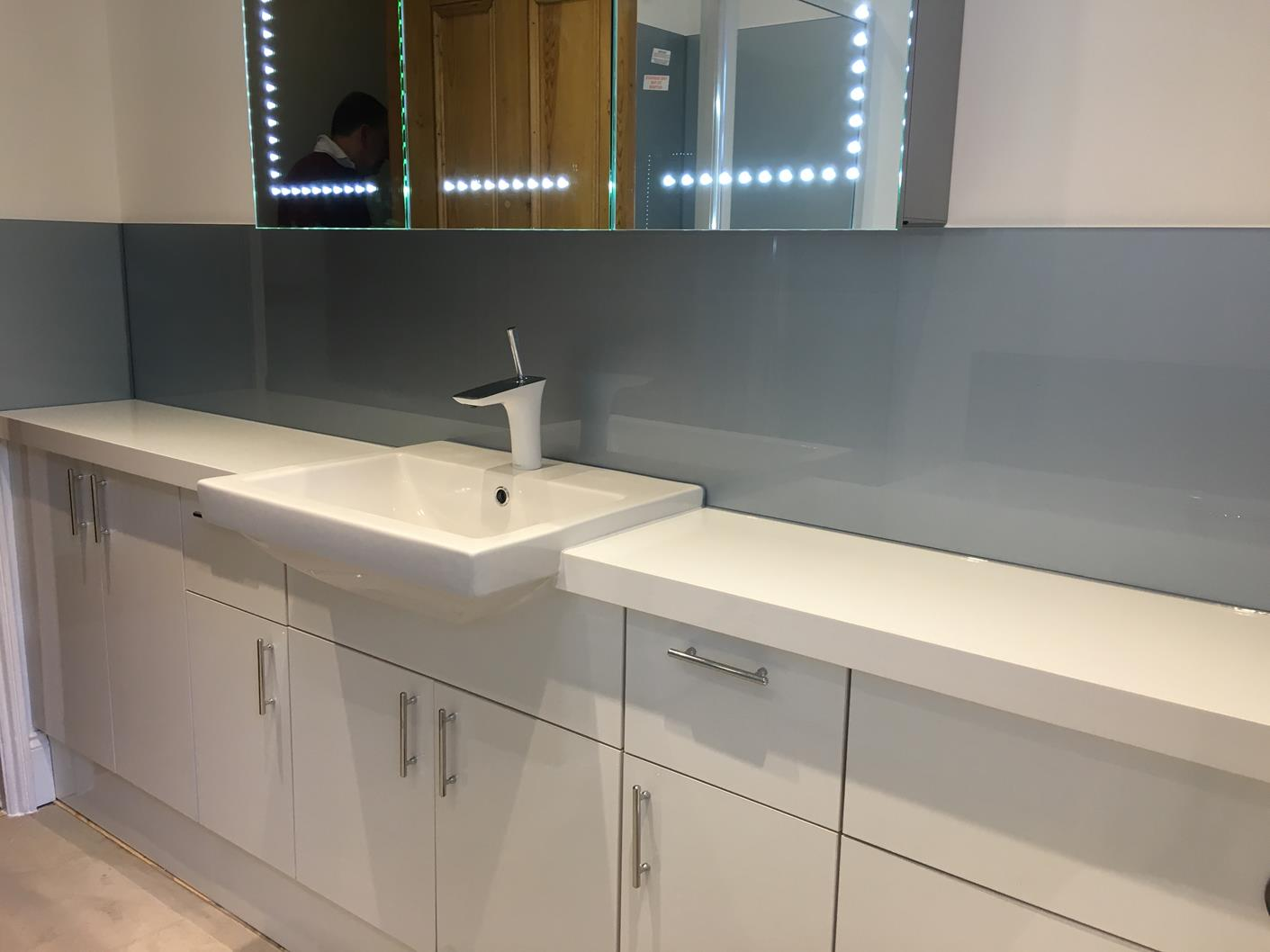 Glass splashbacks for bathroom sinks - Blue Bathroom Glass Splashback Click To See More Blue Bathroom Glass Splashback Click To See More