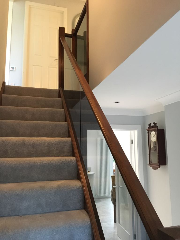 timber frame glass banister